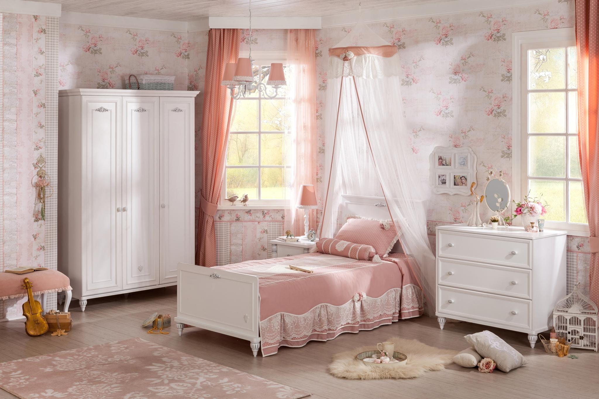 Set Mobila dormitor din pal, pentru copii si tineret 4 piese Romantica White din categoria Mobiler copii