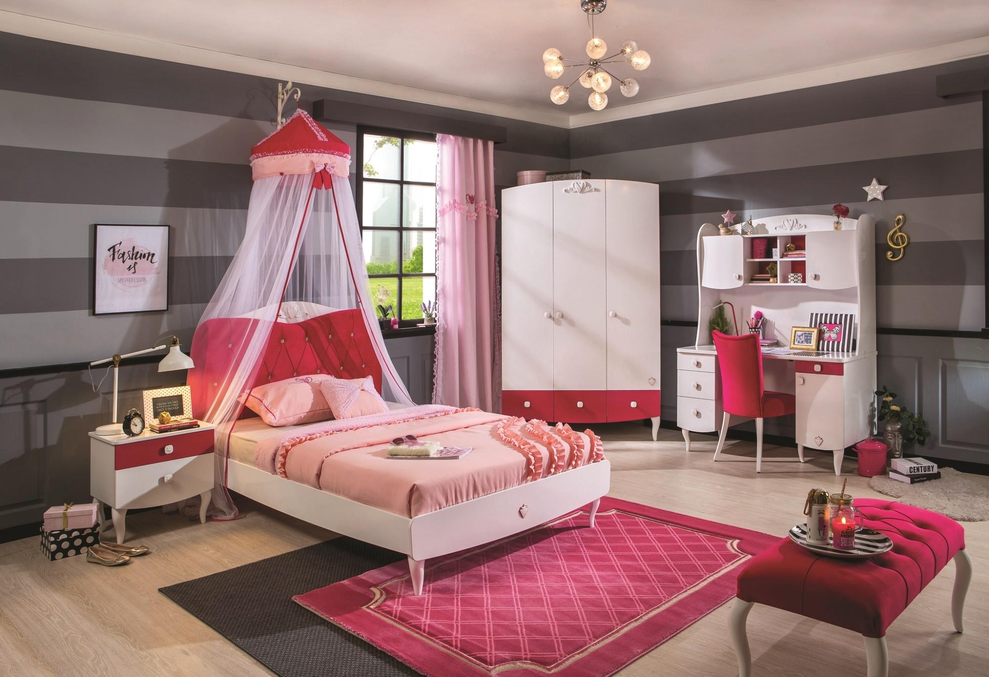 Set Mobila dormitor din pal, pentru fete si tineret 5 piese Yakut White / Dark Pink imagine