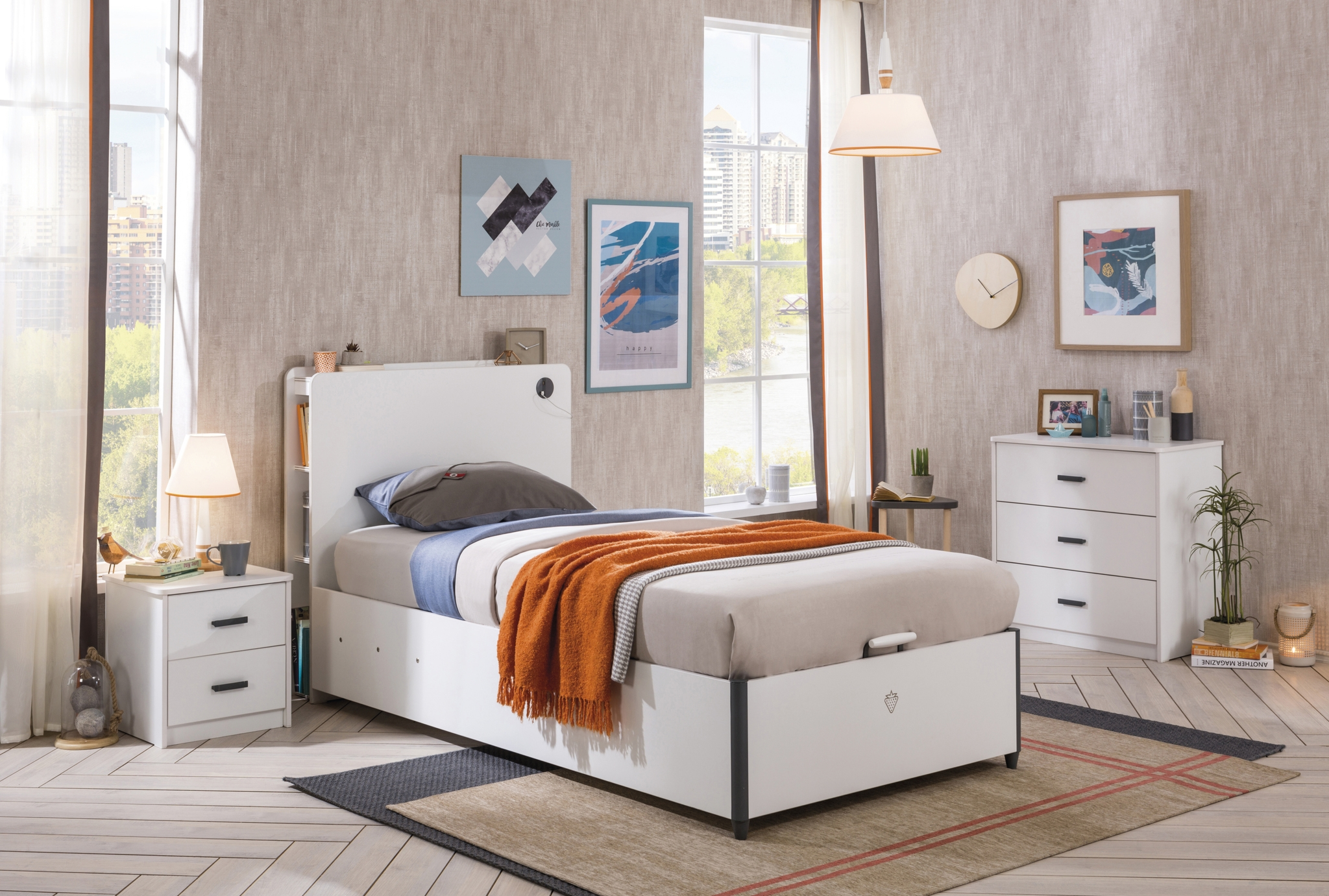 Set Mobila dormitor din pal pentru tineret 3 piese White, 200 x 100 cm imagine