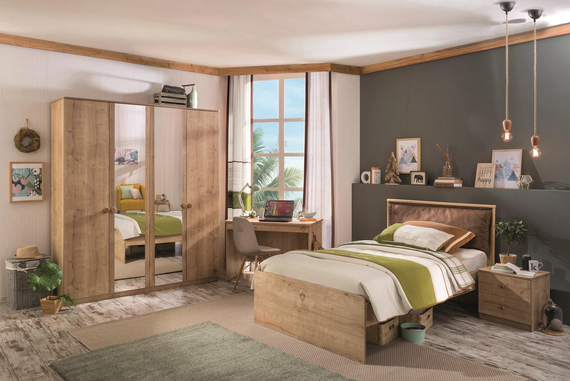 Set Mobila dormitor din pal, pentru tineret 4 piese Mocha Nature imagine