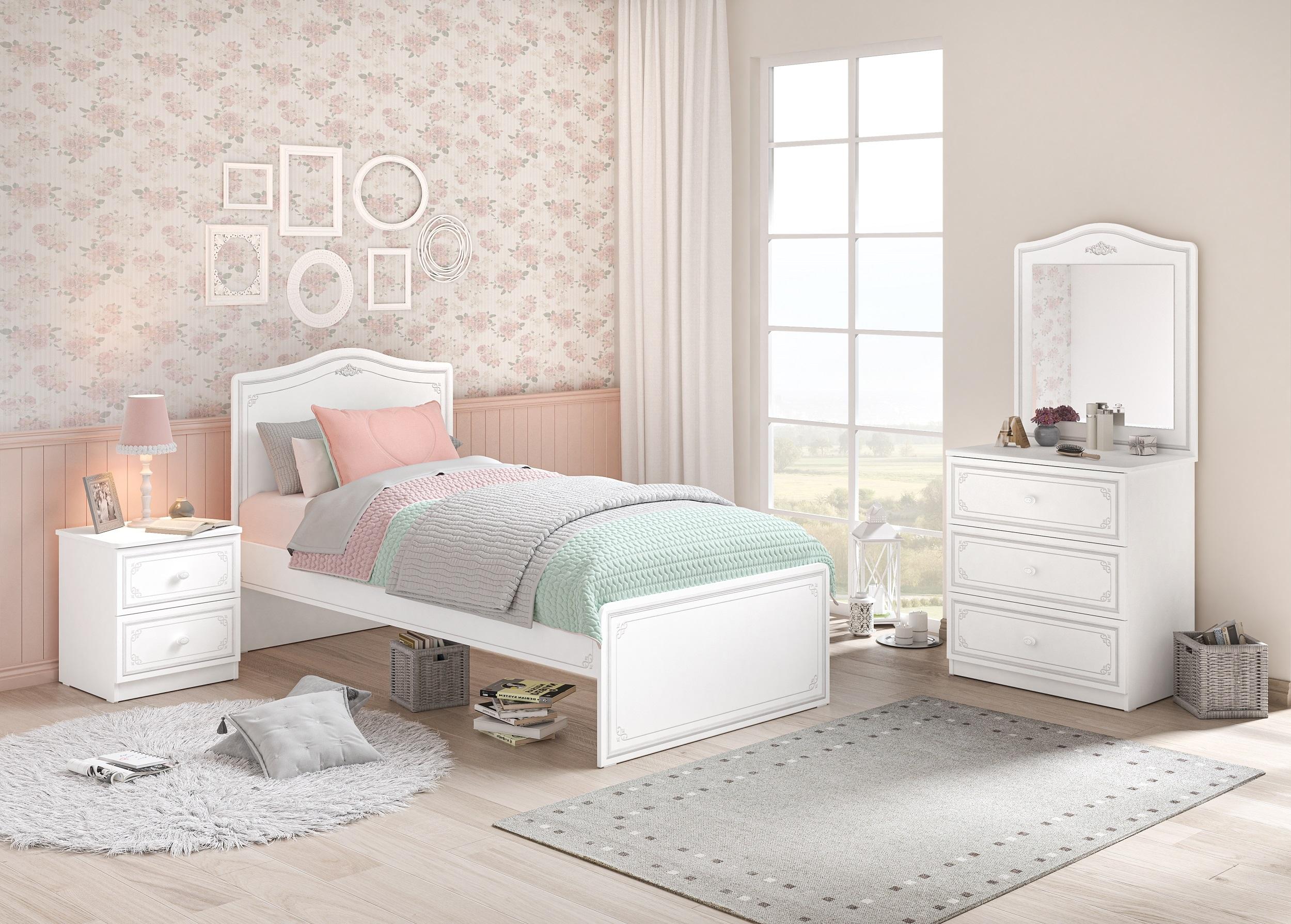 Set Mobila dormitor din pal, pentru tineret 4 piese Selena Grey Alb / Gri, 200 x 100 cm imagine
