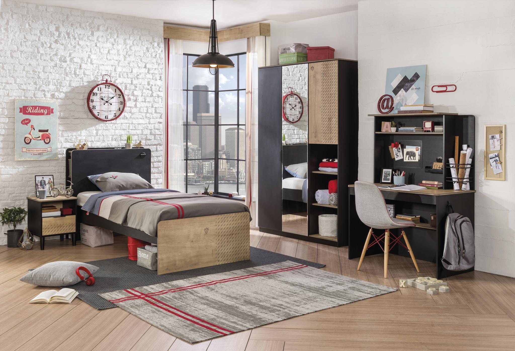Set Mobila dormitor din pal, pentru tineret 5 piese Blacky Black / Nature imagine