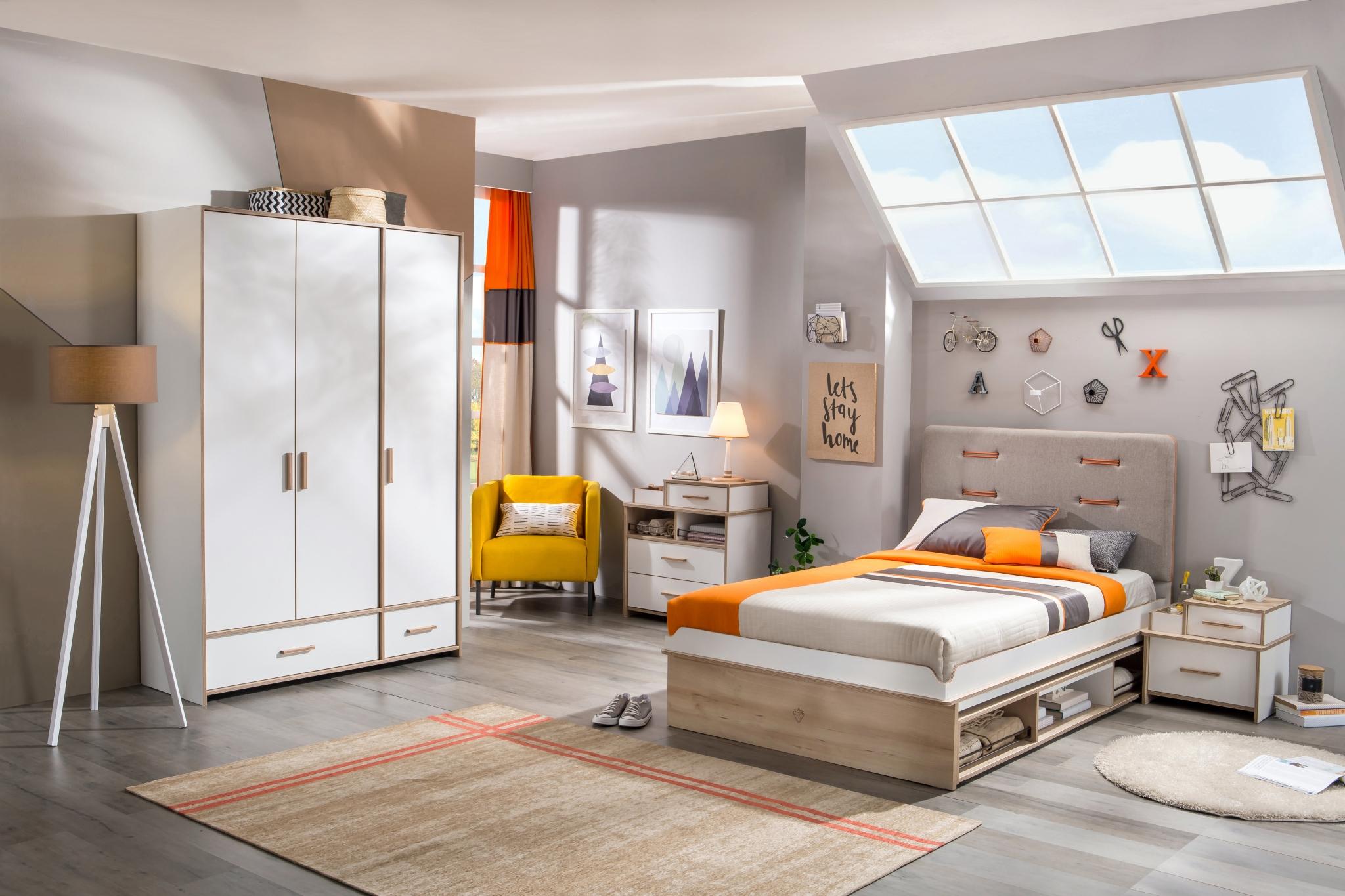 Set Mobila Dormitor Pal Tineret Dynamic Alb Natur