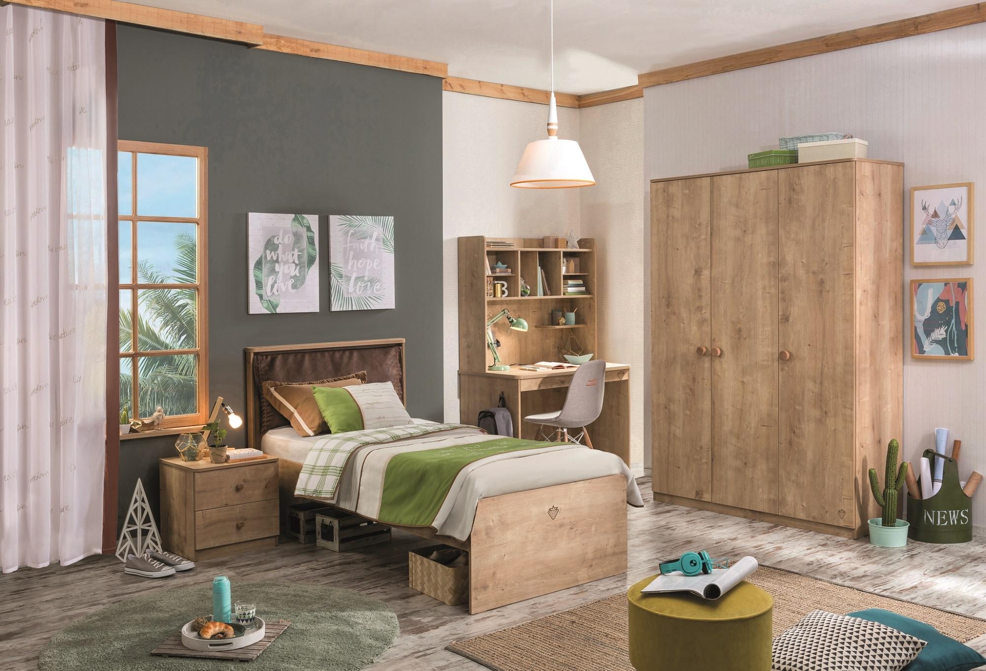 Set Mobila dormitor din pal, pentru tineret 5 piese Mocha Nature imagine