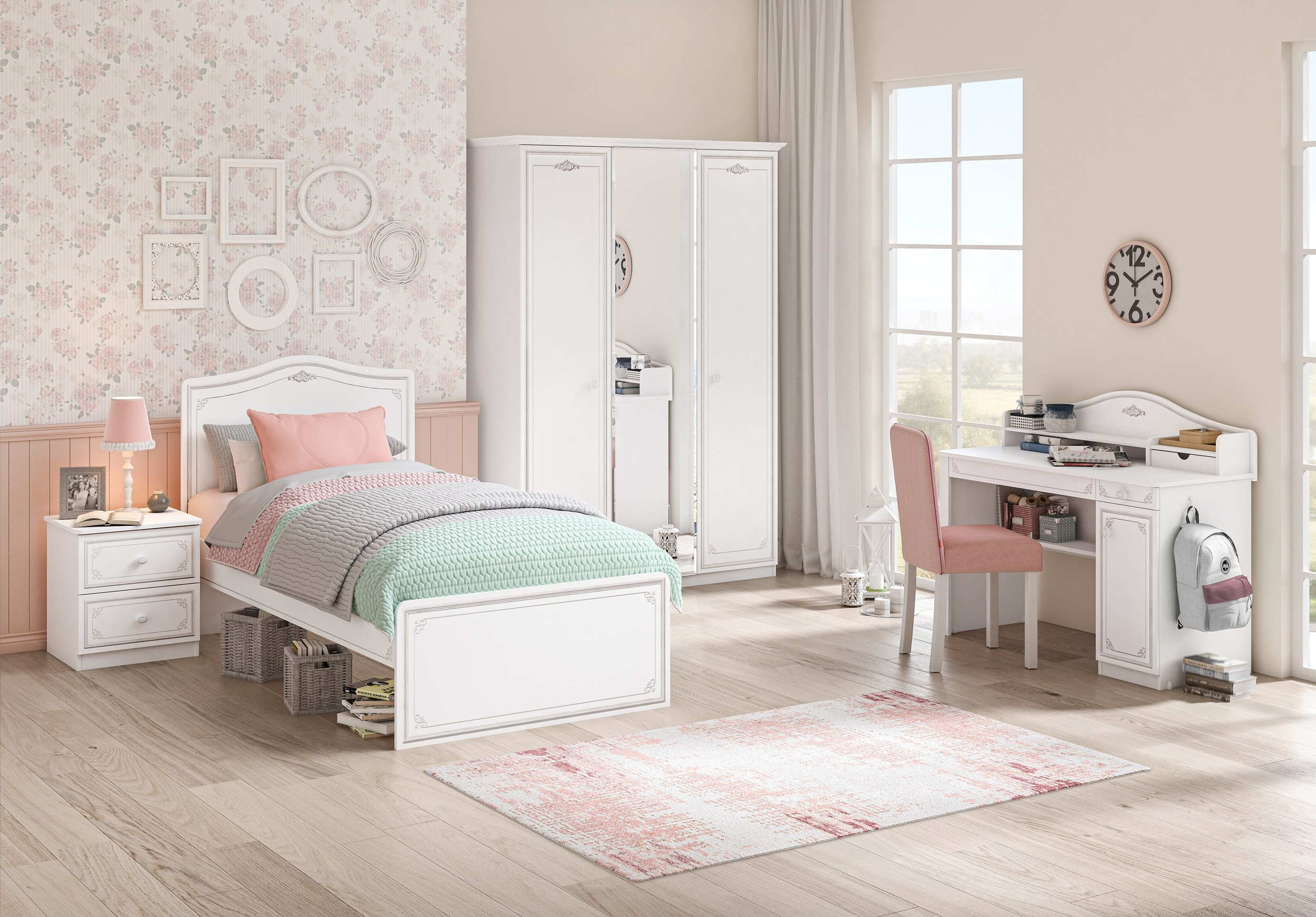 Set Mobila dormitor din pal, pentru tineret 5 piese Selena Grey Alb / Gri, 200 x 120 cm poza
