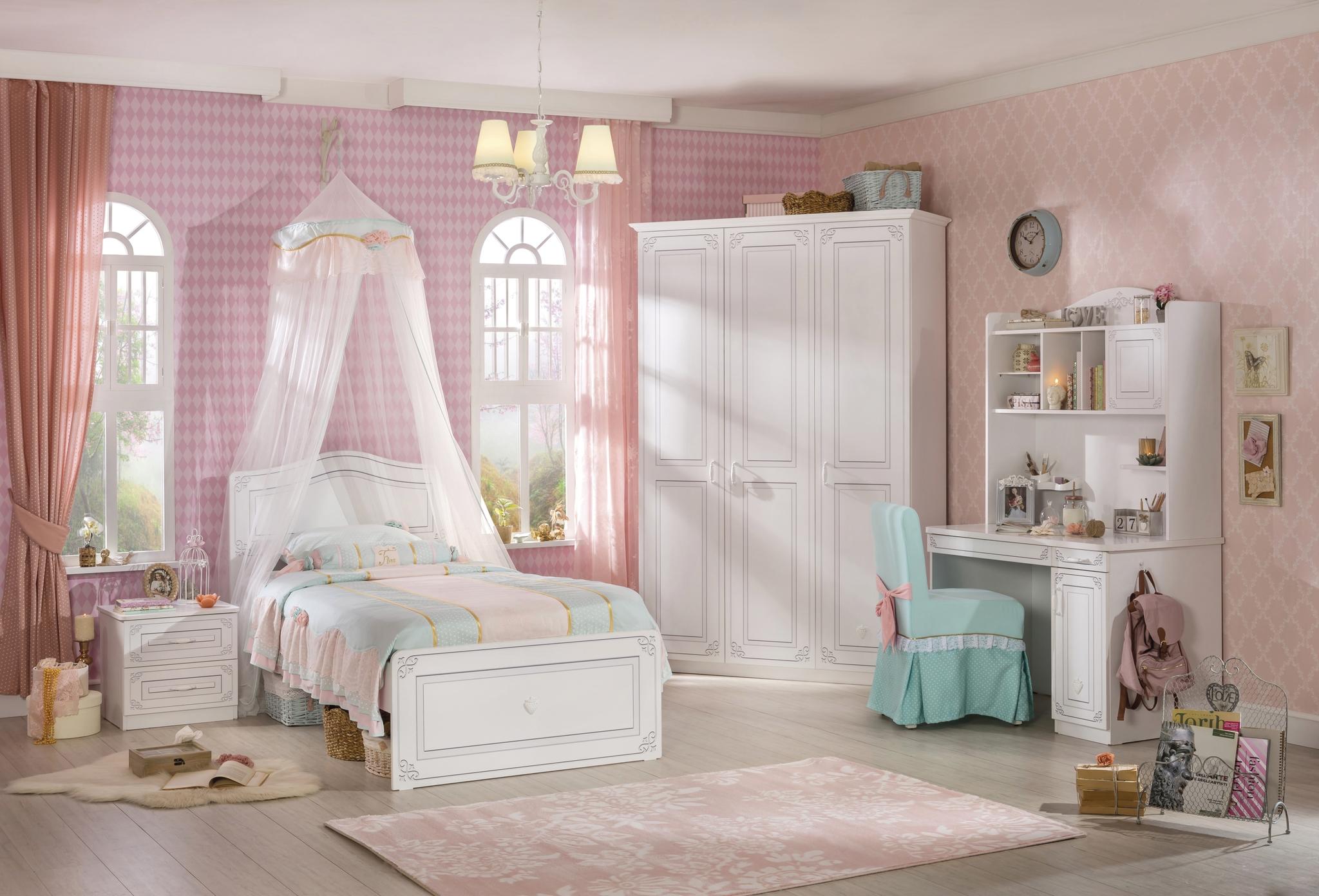 Set Mobila dormitor din pal, pentru tineret 5 piese Selena Alb imagine
