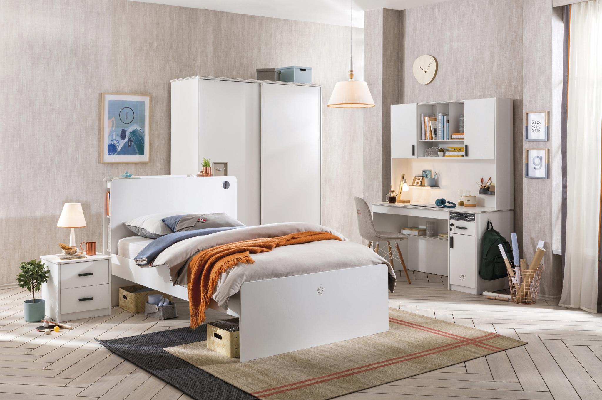 Set Mobila dormitor din pal pentru tineret 5 piese White Large, 200 x 120 cm poza