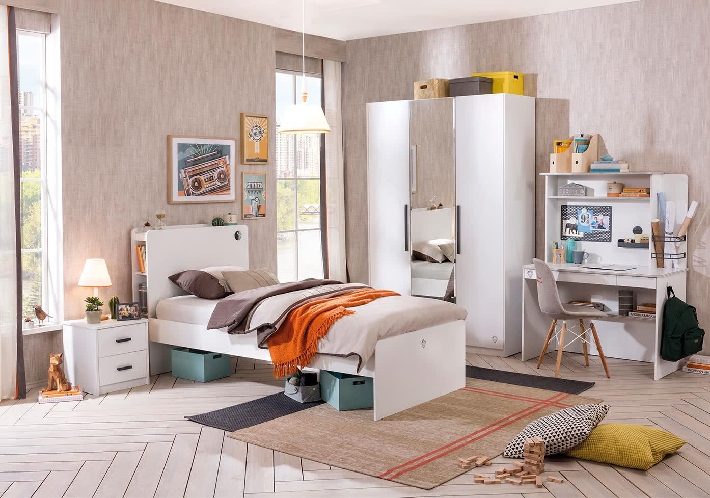 Set Mobila Dormitor Pal Tineret Alb Small Poza