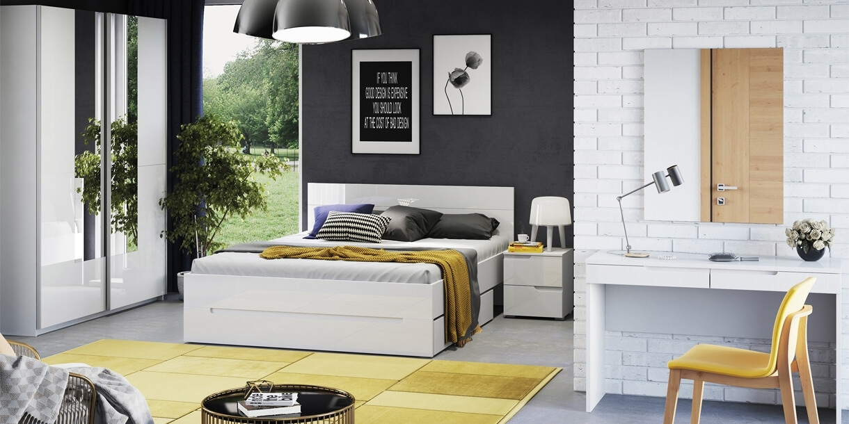 Set Mobila Dormitor din pal si MDF, 5 piese Gabrielle Alb, 200 x 160 cm poza