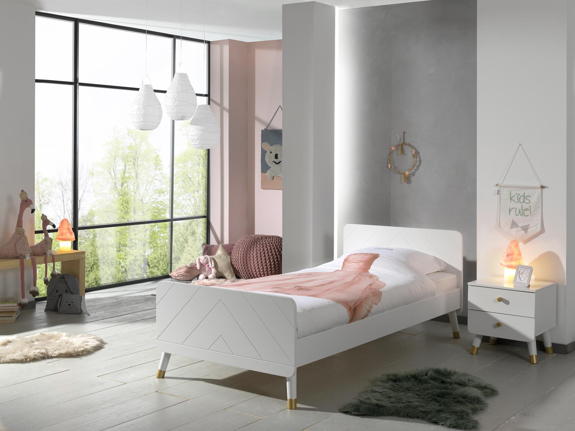 Set Mobila dormitor din pal si MDF, pentru copii 2 piese Billy Alb, 200 x 90 cm poza