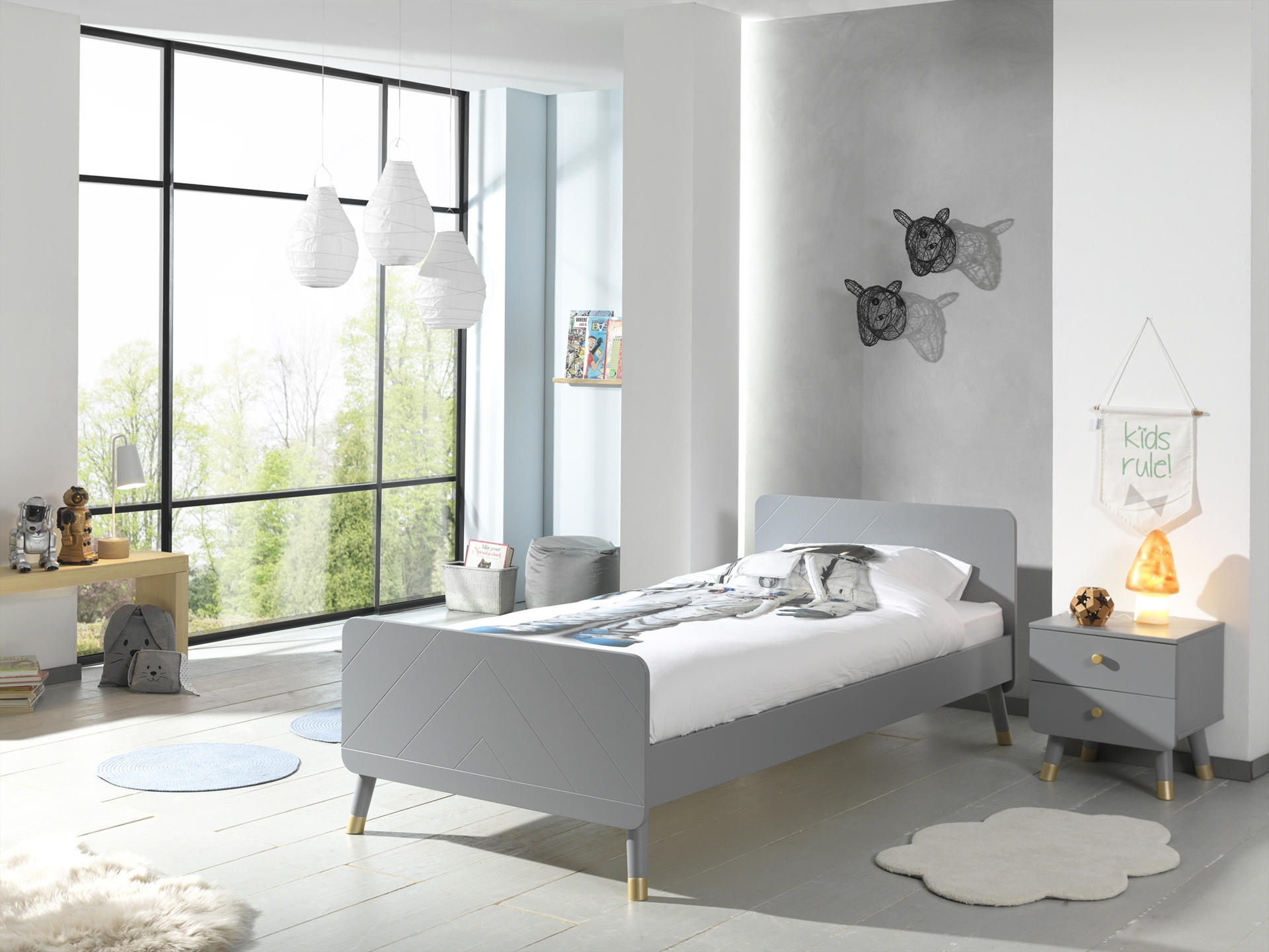 Set Mobila dormitor din pal si MDF, pentru copii 2 piese Billy Gri, 200 x 90 cm