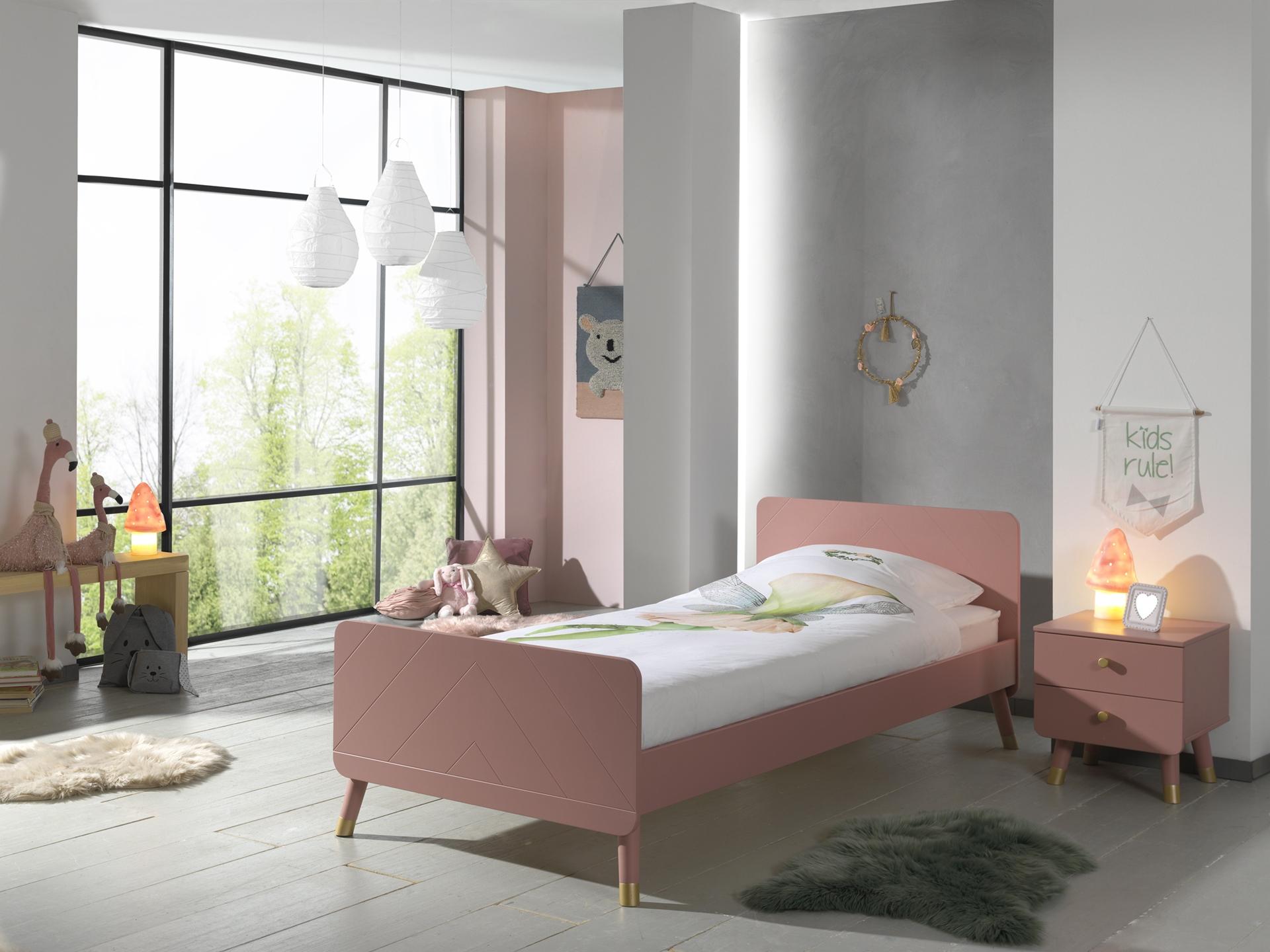 Set Mobila dormitor din pal si MDF, pentru copii 2 piese Billy Roz, 200 x 90 cm poza