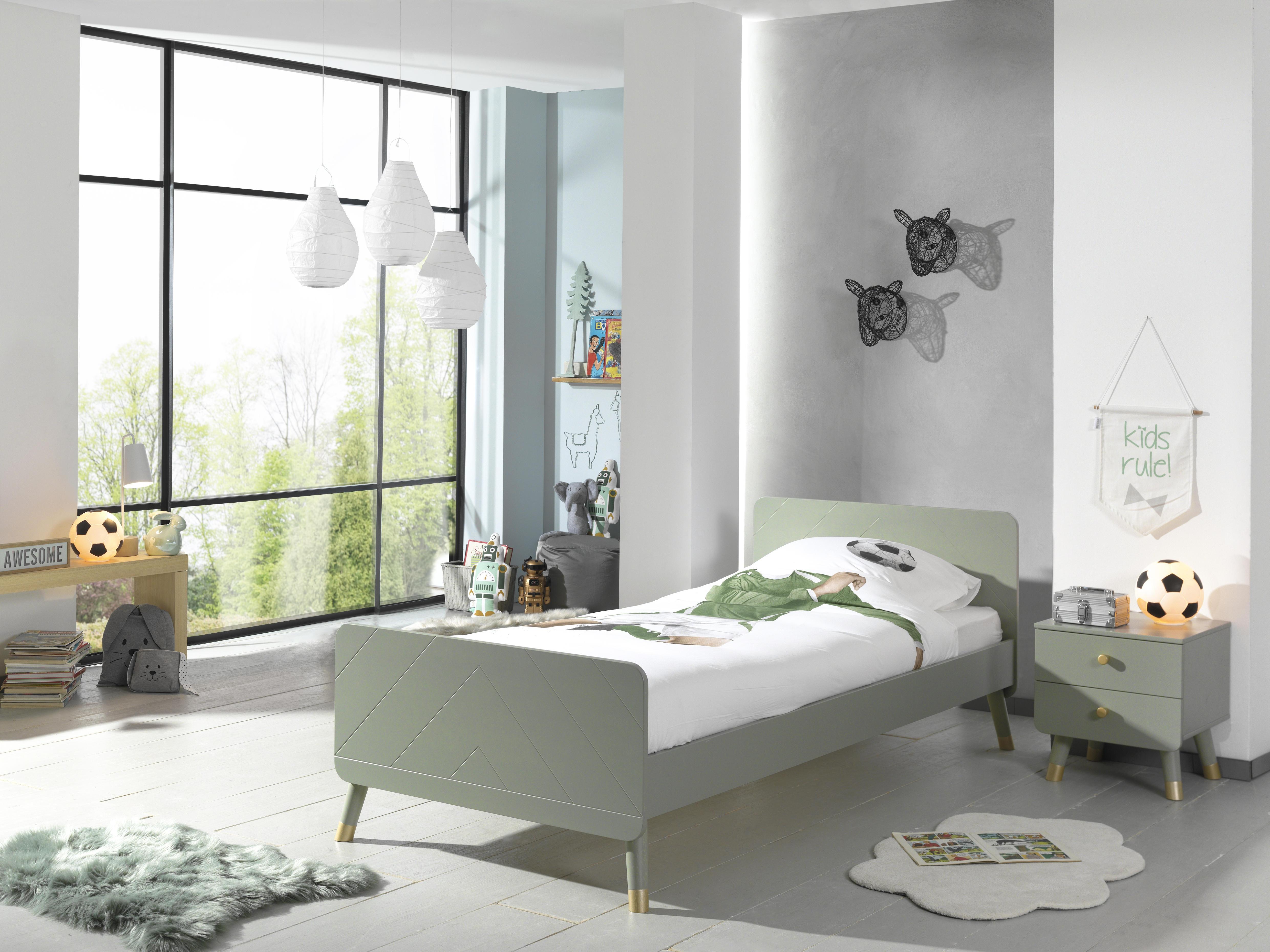 Set Mobila dormitor din pal si MDF, pentru copii 2 piese Billy Verde Olive, 200 x 90 cm poza