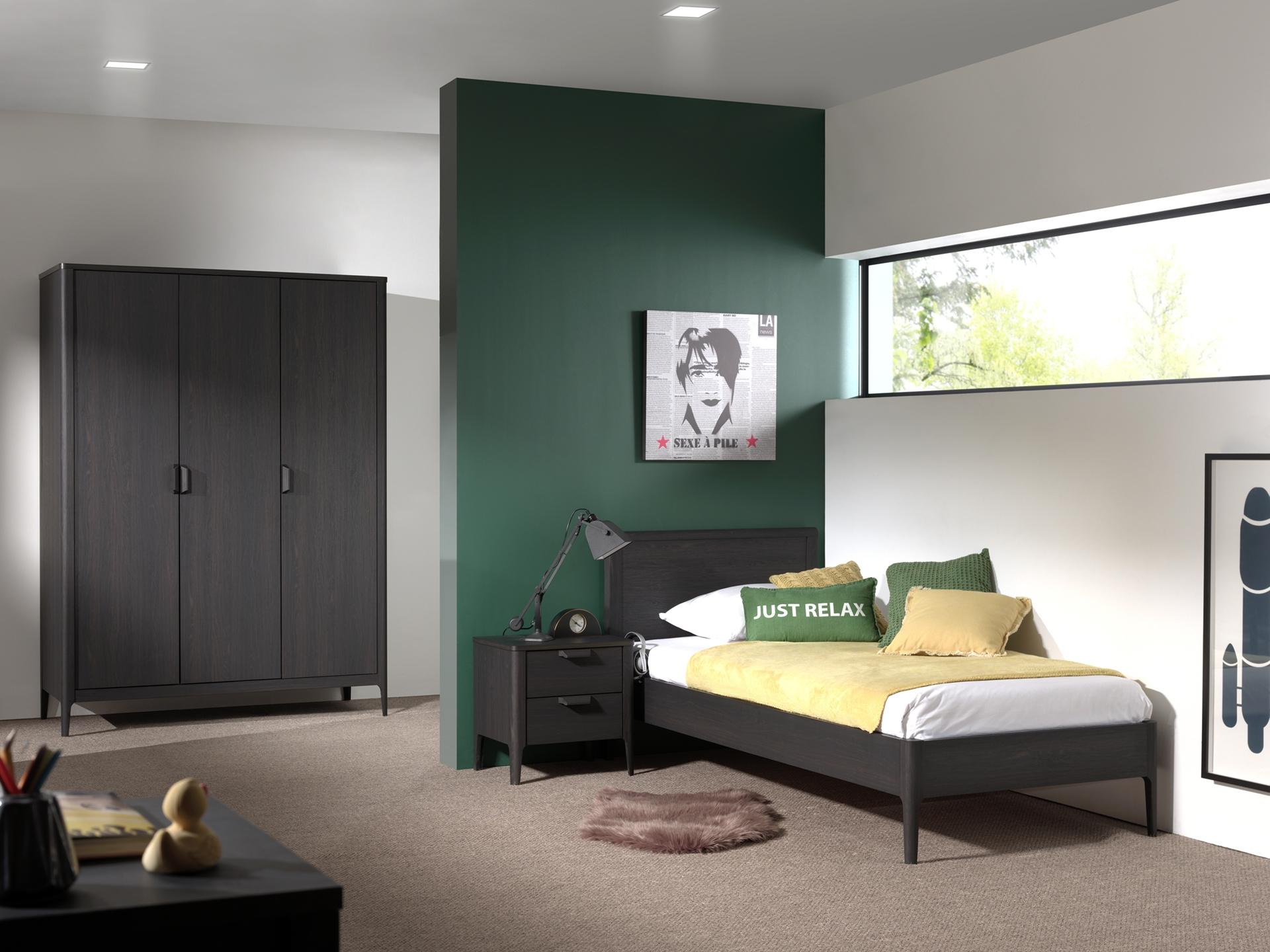 Set Mobila dormitor din pal si MDF, pentru copii 3 piese Azalea Large Antracit, 200 x 90 cm