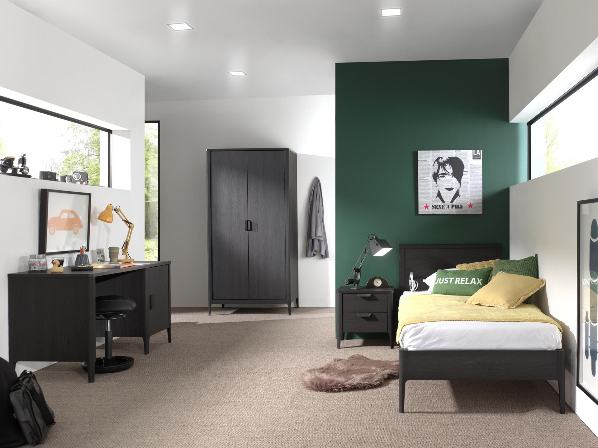 Set Mobila dormitor din pal si MDF, pentru copii 4 piese Azalea Antracit, 200 x 90 cm imagine