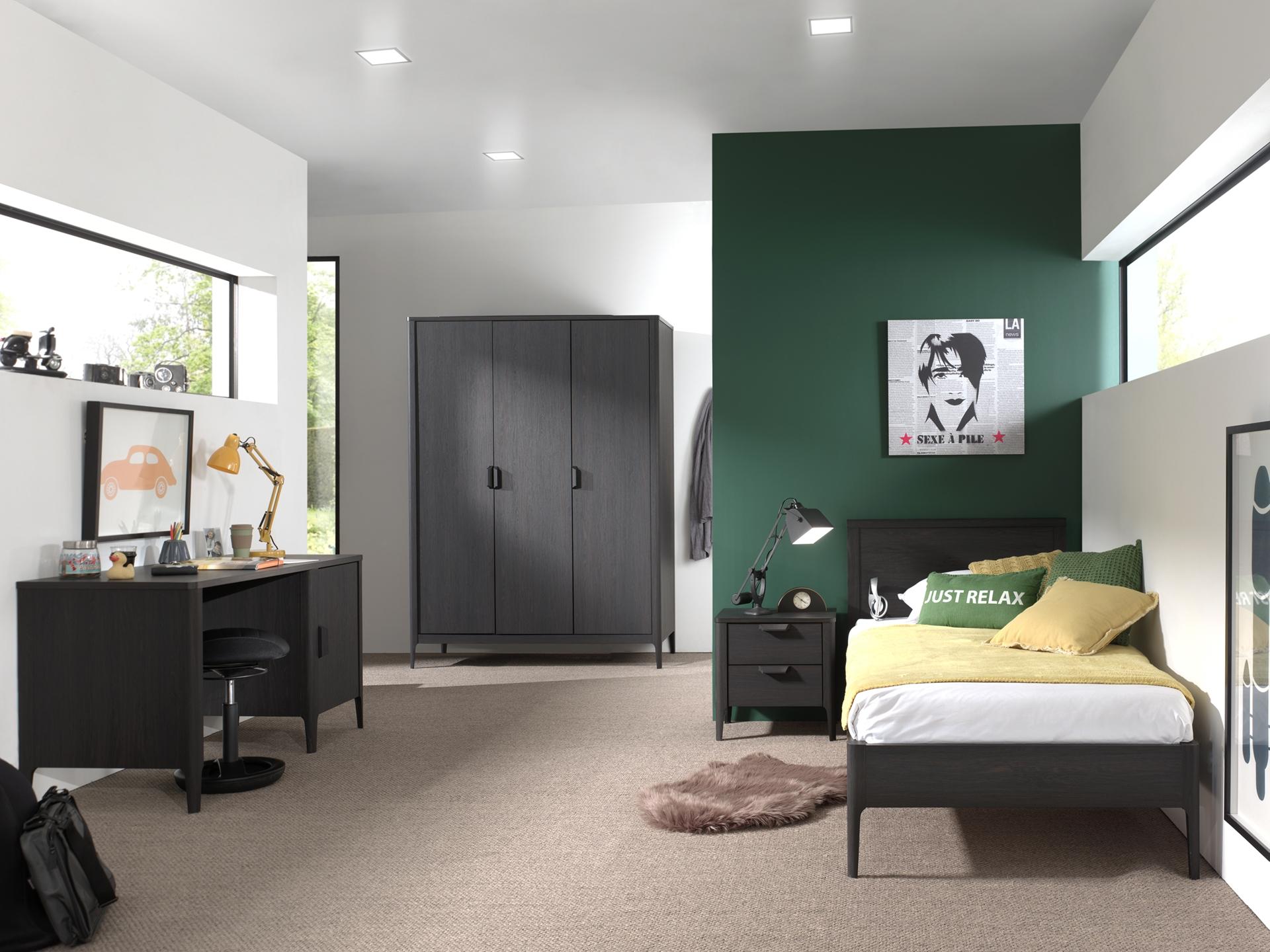 Set Mobila dormitor din pal si MDF, pentru copii 4 piese Azalea Large Antracit, 200 x 90 cm poza