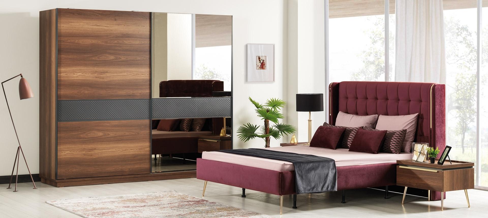 Set mobila dormitor din pal si metal, cu pat 200 x 160 cm, 6 piese Pietro Nuc / Auriu