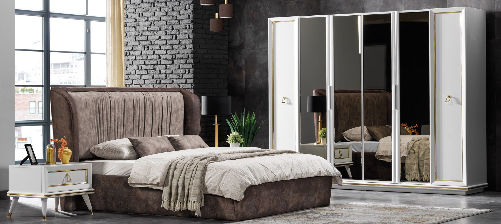 Set mobila dormitor din pal si metal, cu pat 200 x 160 cm, 6 piese Toscana Alb / Auriu