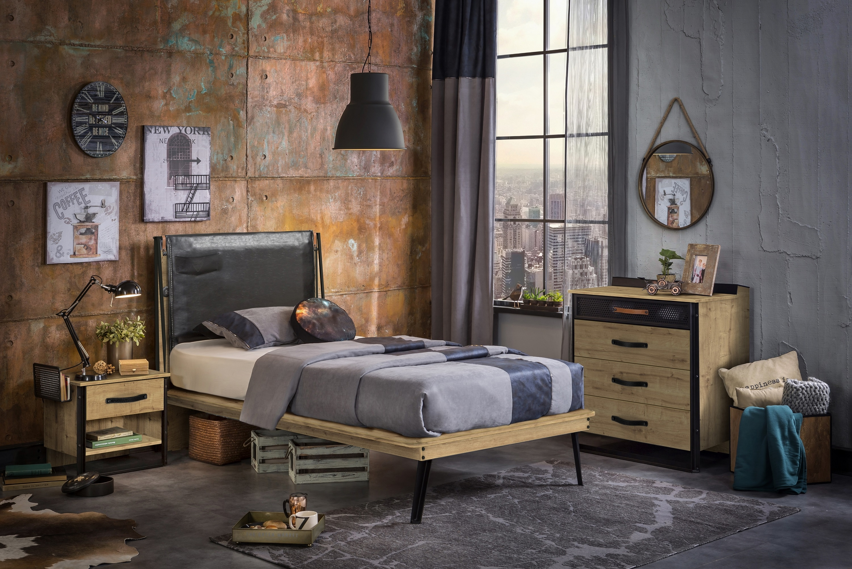 Set Mobila dormitor din pal si metal, pentru tineret 3 piese Wood Metal Natural / Negru, 200 x 100 cm imagine