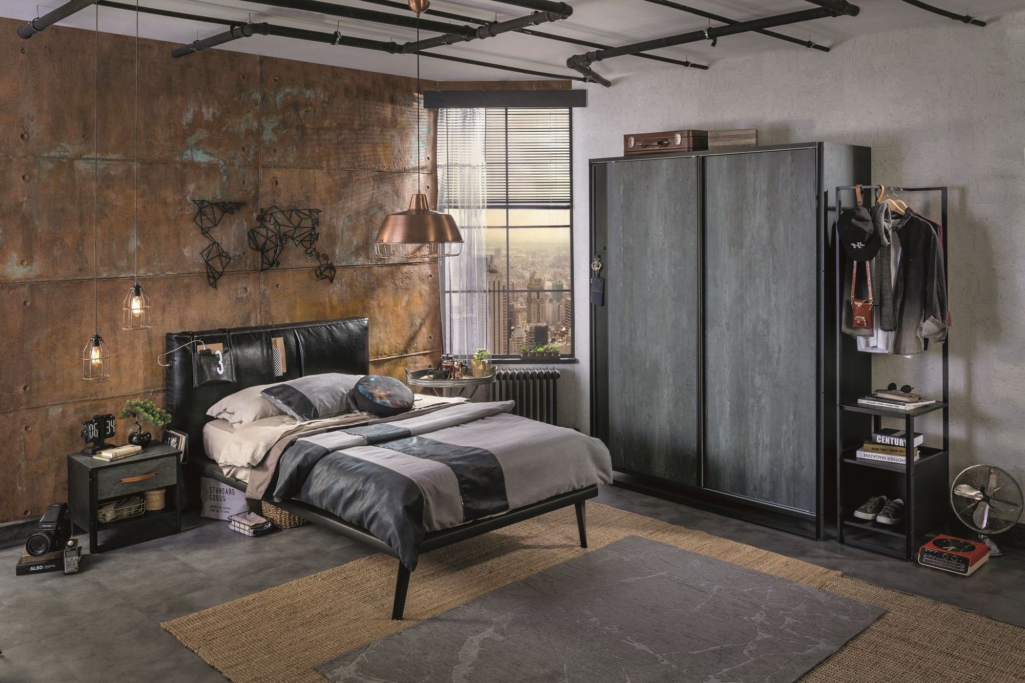 Set Mobila dormitor din pal si metal, pentru tineret 4 piese Dark Metal Black / Graphite imagine