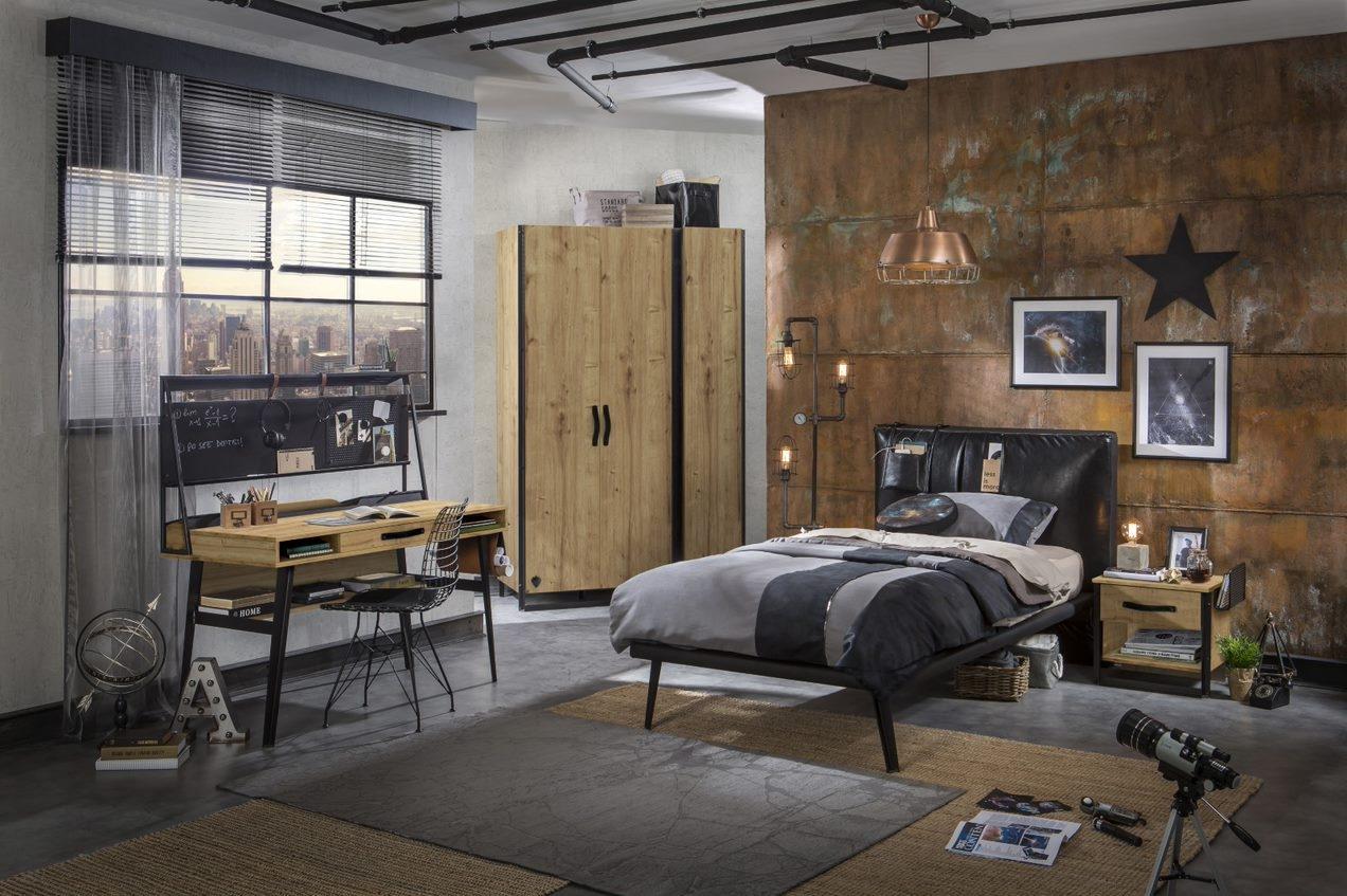 Set Mobila dormitor din pal si metal, pentru tineret 5 piese Wood Metal Natural / Negru, 200 x 120 cm poza