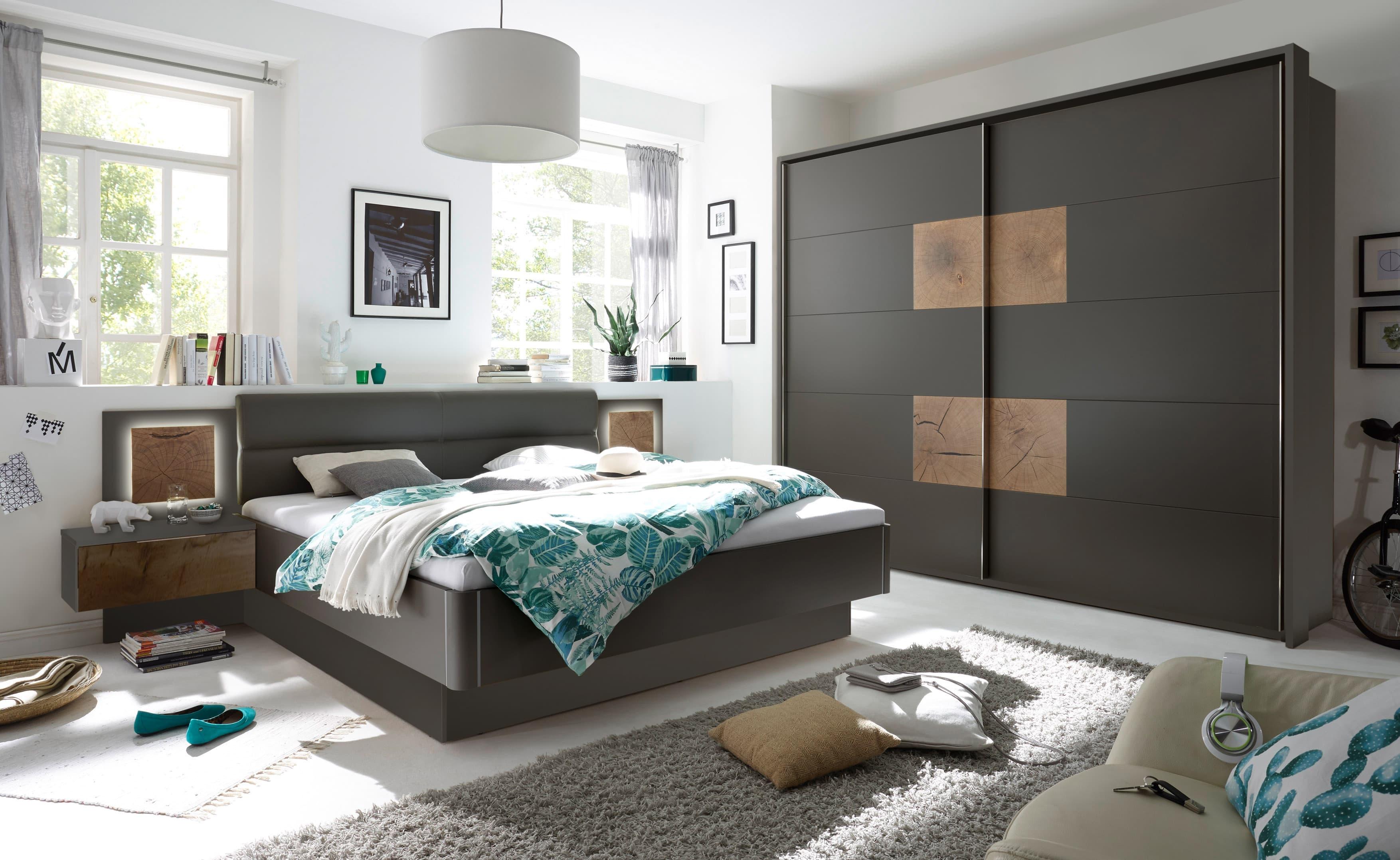 Set Mobila Dormitor din pal si piele ecologica, cu pat 200 x 180 cm, 2 piese Cappy Antracit / Natural poza