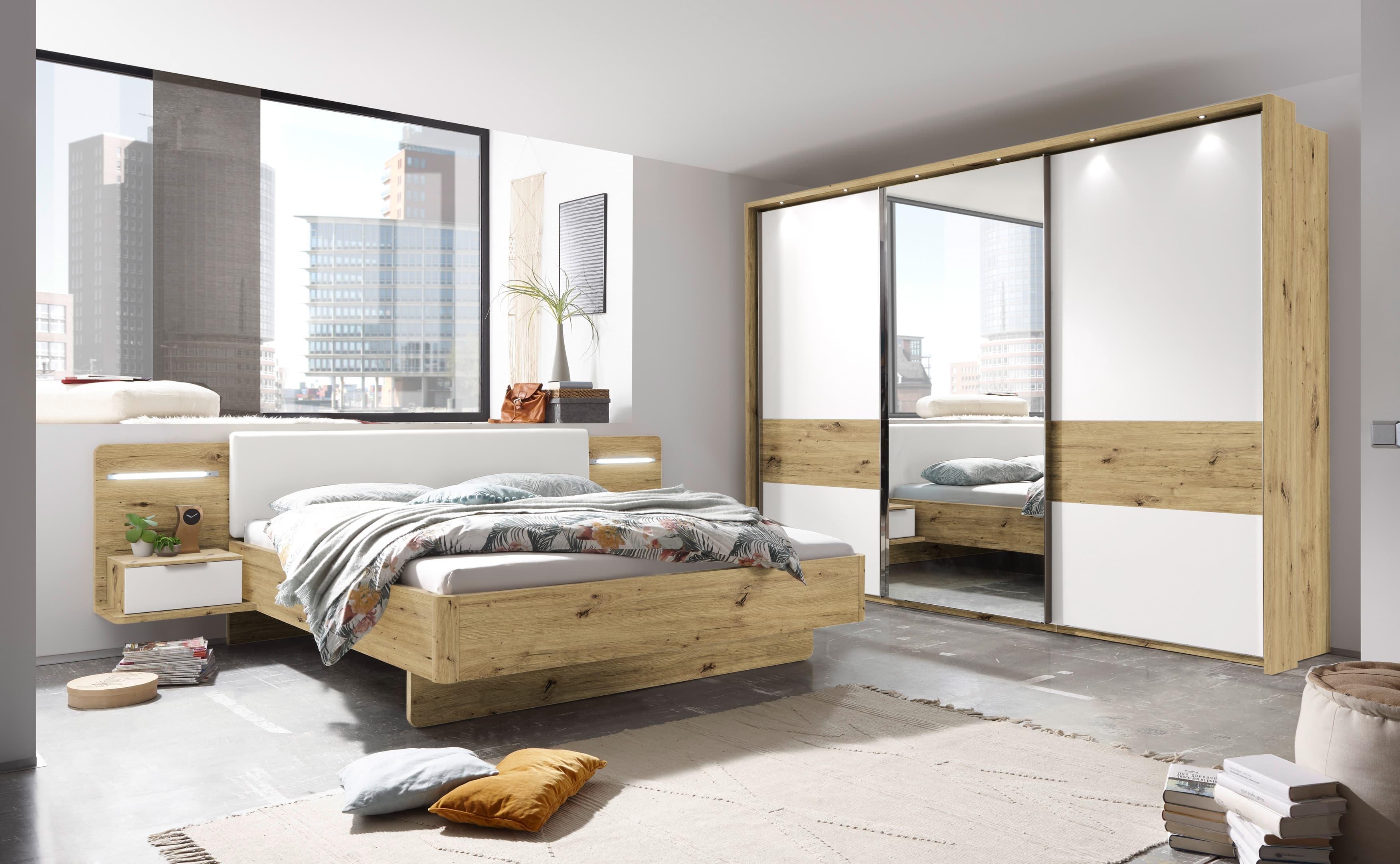 Set Mobila Dormitor din pal si piele ecologica, cu pat 200 x 180 cm, 2 piese Faris Alb / Stejar poza