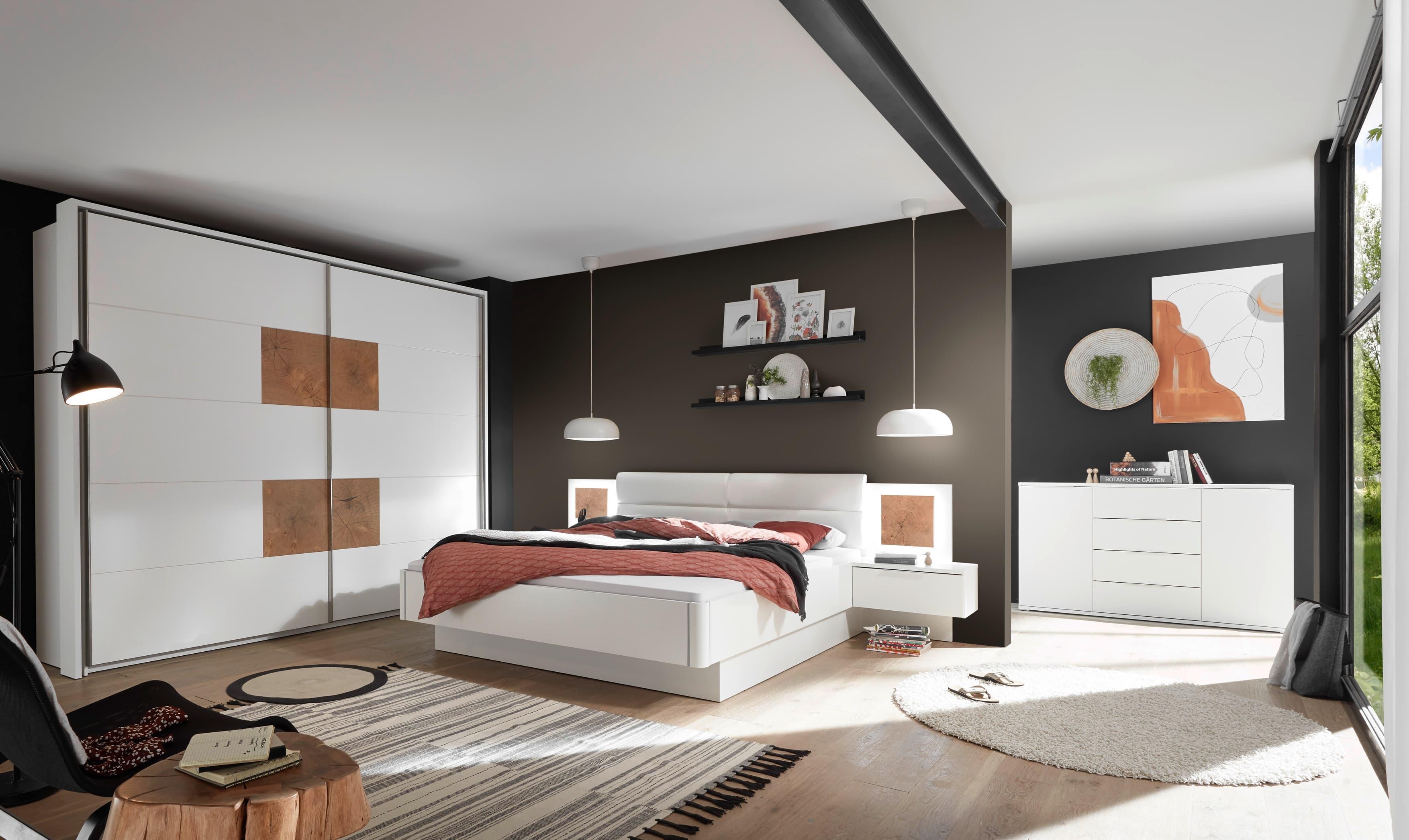 Set Mobila Dormitor din pal si piele ecologica, cu pat 200 x 180 cm, 3 piese Cappy Alb / Natural poza