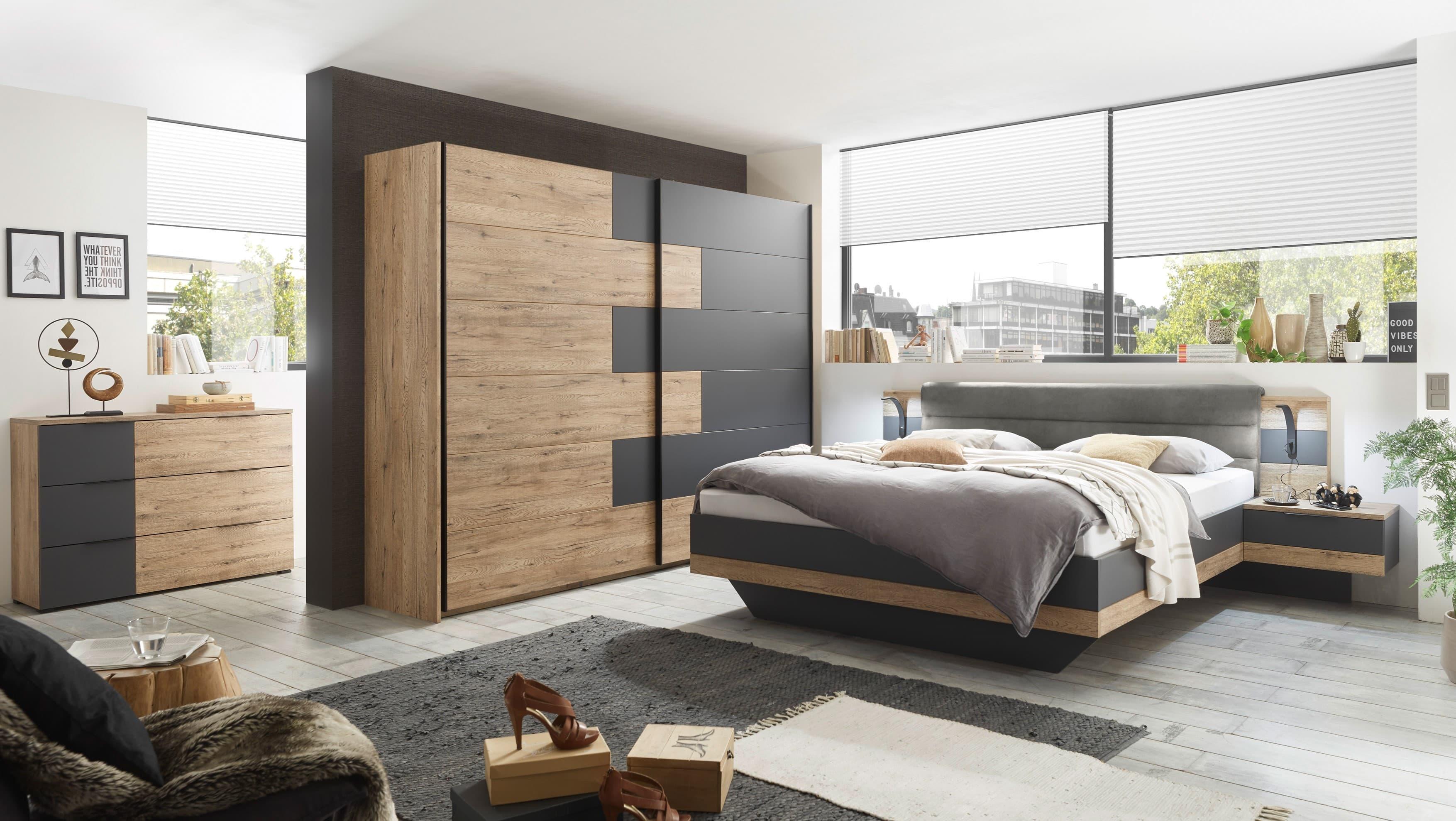 Set Mobila Dormitor din pal si stofa, cu pat 200 x 180 cm, 3 piese Lines Grafit / Stejar poza