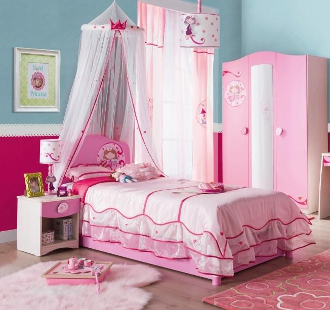 Set Mobila dormitor din pal, pentru copii 4 piese Little Princess Pink / Nature imagine