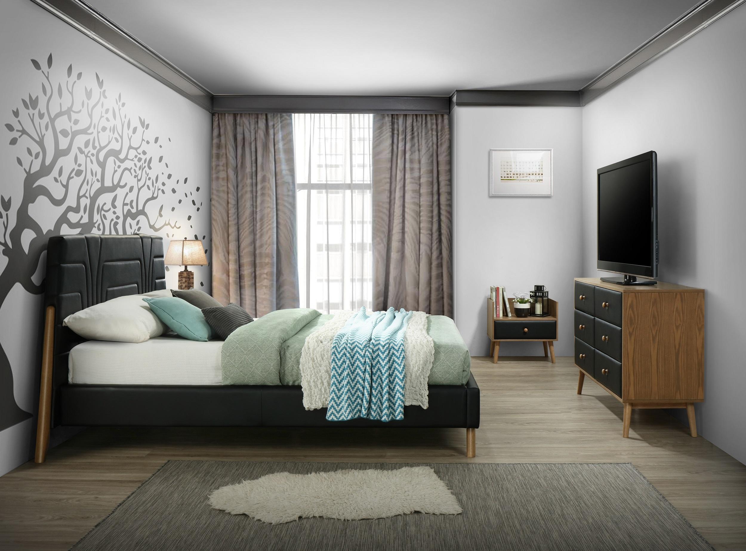 Set Mobila Dormitor tapitat cu piele ecologica, pat 200 x 160 cm, 4 piese Stilt Negru / Stejar poza