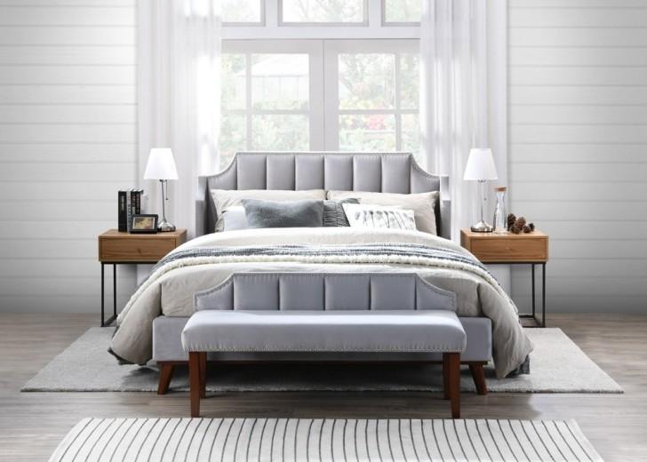 Set Mobila Dormitor tapitat cu stofa, pat 200 x 160 cm, 4 piese Windsor II Velvet Gri deschis imagine