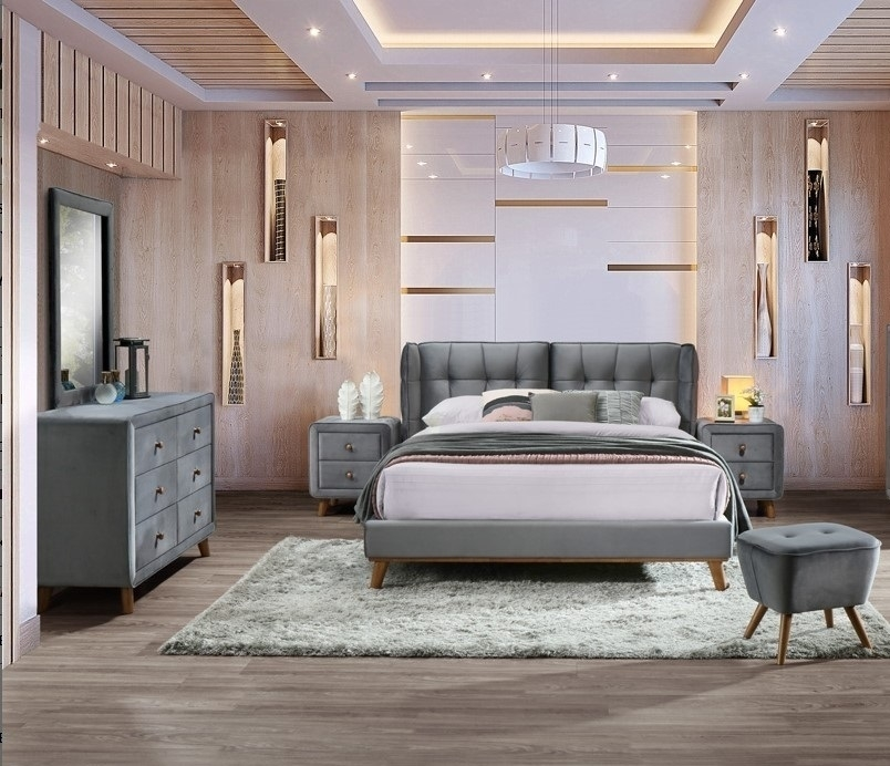 Set Mobila Dormitor tapitat cu stofa, pat 200 x 160 cm, 6 piese Shell Velvet Gri poza