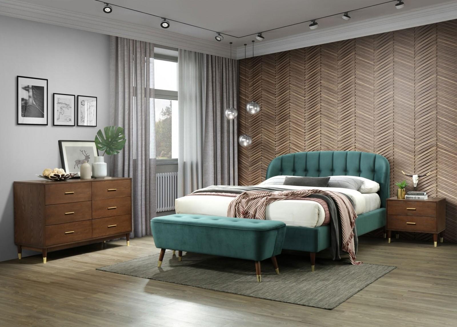 Set Mobila Dormitor tapitat cu stofa, pat 200 x 180 cm, 5 piese Emerald Velvet Verde / Nuc imagine