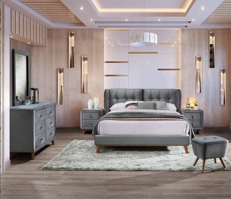 Set Mobila Dormitor tapitat cu stofa, pat 200 x 180 cm, 6 piese Shell Velvet Gri imagine