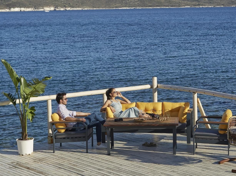 Set mobilier gradina / terasa Assento Outdoor Antracit / Galben, 2 fotolii + canapea 3 locuri + masa de cafea poza