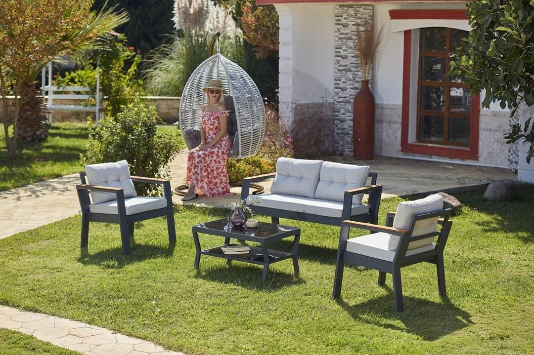 Set mobilier gradina / terasa Daphne Gri deschis / Antracit, 2 fotolii + canapea 2 locuri + masa de cafea poza