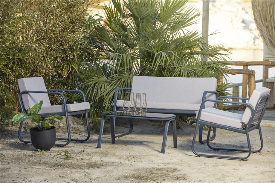 Set mobilier gradina / terasa Ferni Gri deschis / Antracit, 2 fotolii + canapea 2 locuri + masa de cafea poza