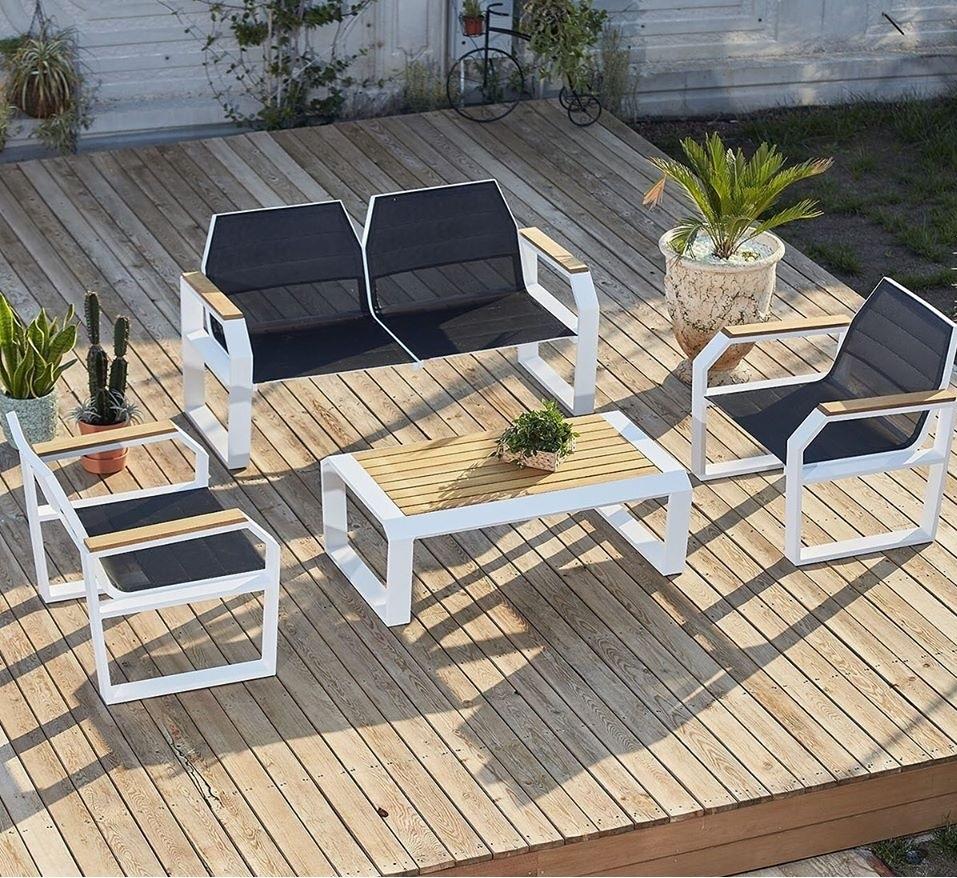 Set mobilier gradina / terasa Truva Bleumarin / Alb, 2 fotolii + canapea 2 locuri + masa de cafea poza