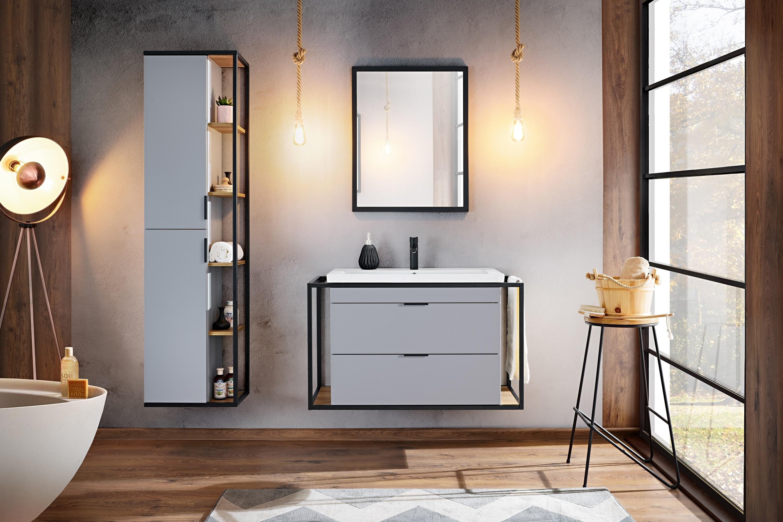 Set Mobilier pentru baie, 4 piese, Manhattan Grey imagine