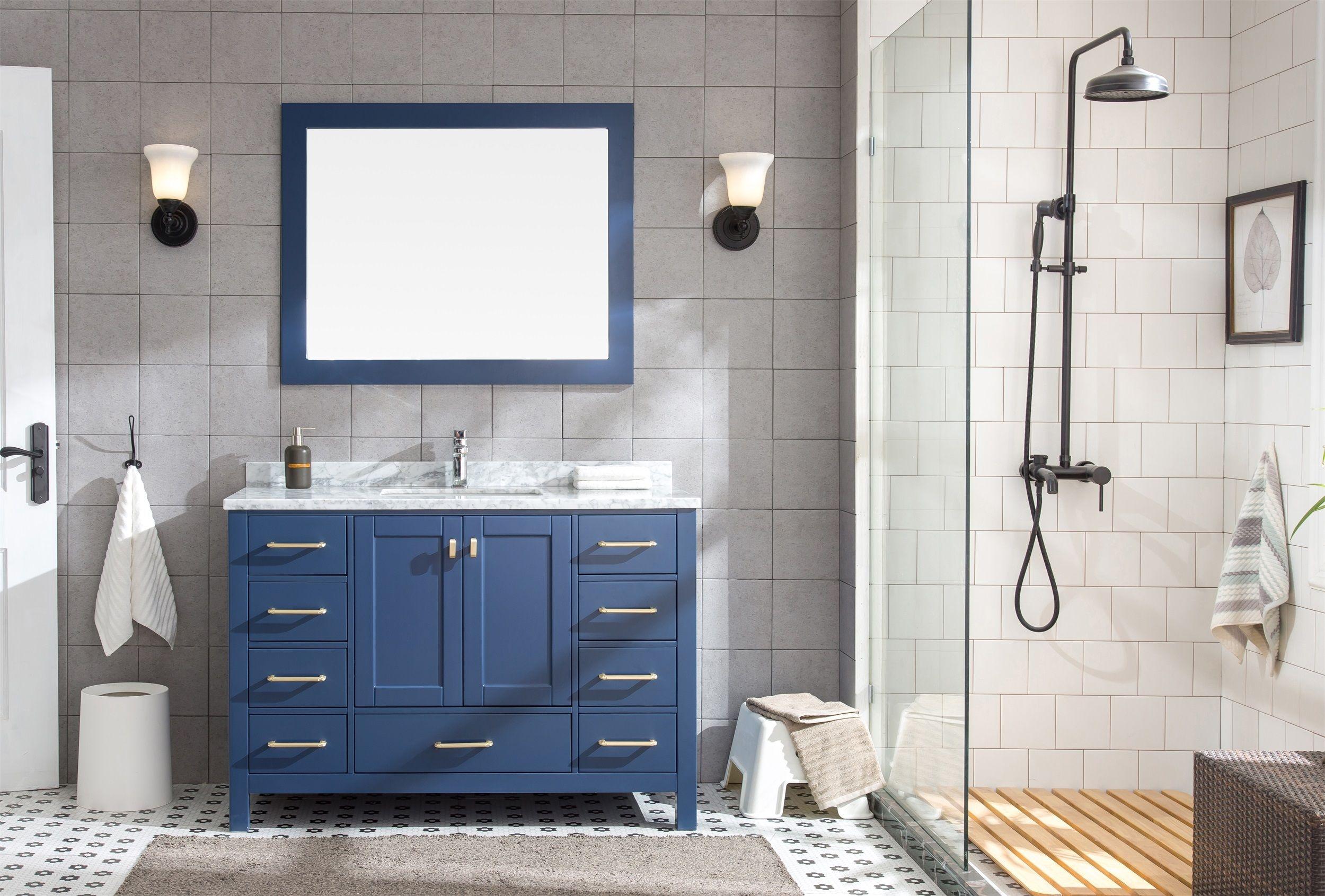 Set mobilier pentru baie din lemn, Rustica Albastru 122 cm, 3 piese poza