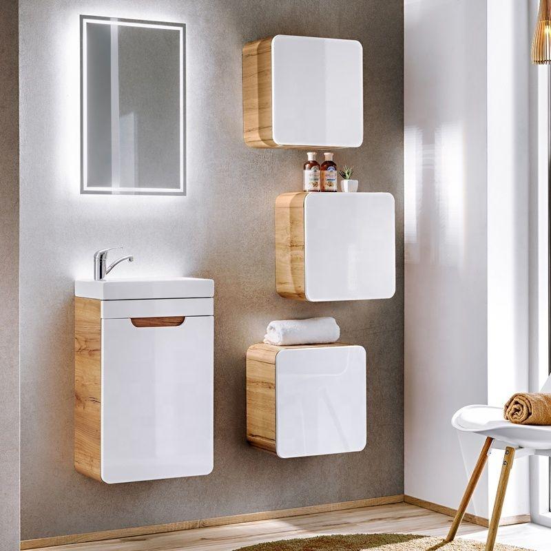 Set mobilier pentru baie din MDF, Aruba Alb / Stejar 40 cm, 6 piese poza