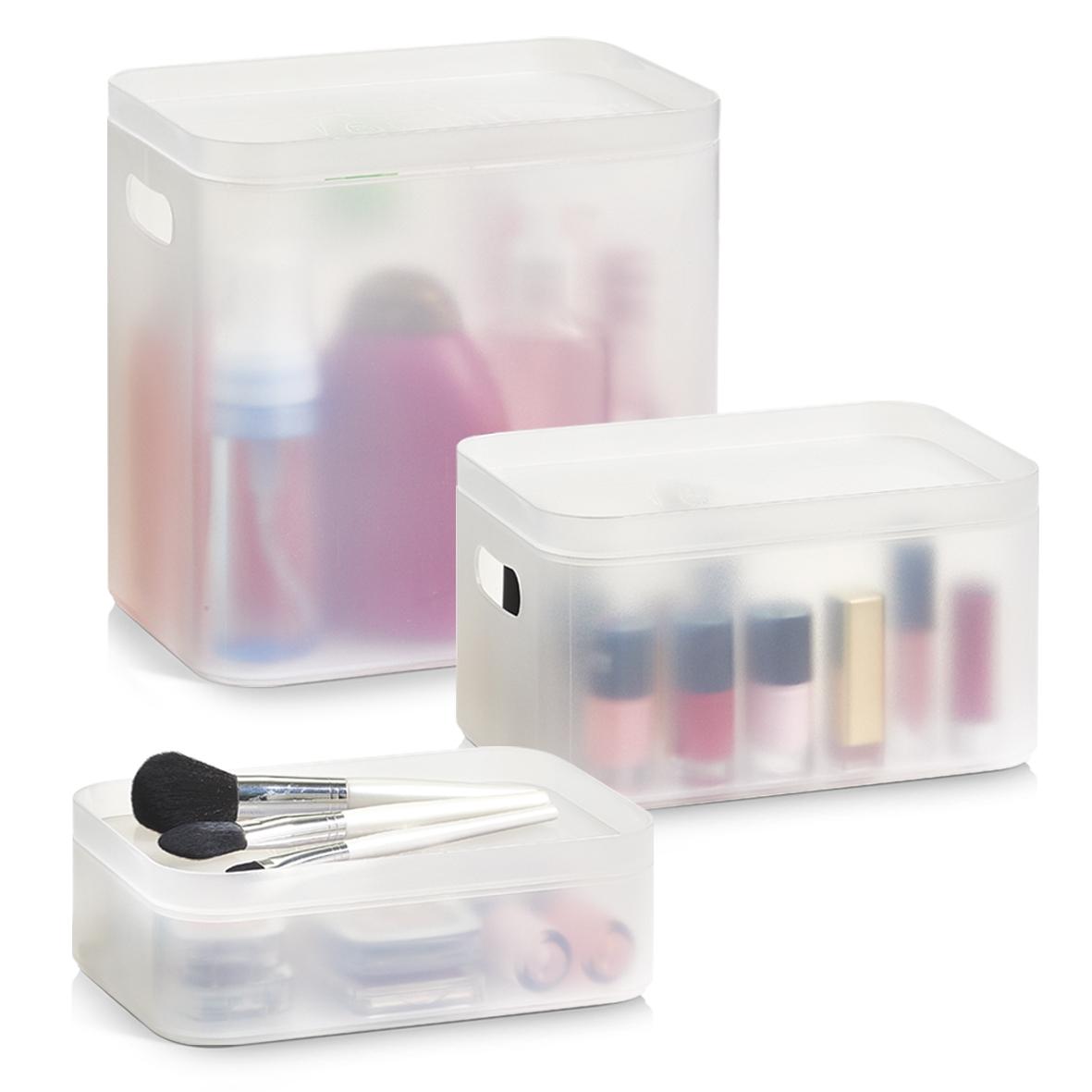 Set Organizator pentru cosmetice din plastic, Kosmetik Transparent, 3 piese somproduct.ro