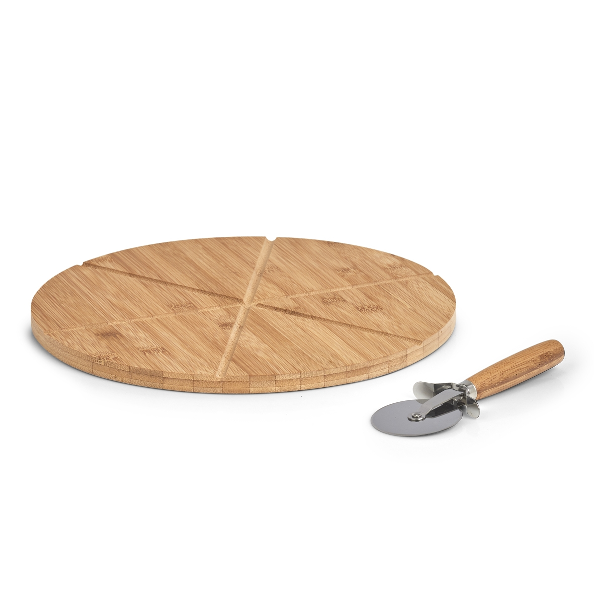 Set platou de servire din bambus cu taietor Pizza Natural, Ø32xH1,5 cm
