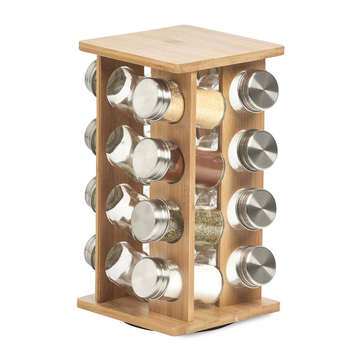 Set recipiente pentru depozitare condimente, cu suport din bambus, Bamboo Natural, 17 piese imagine