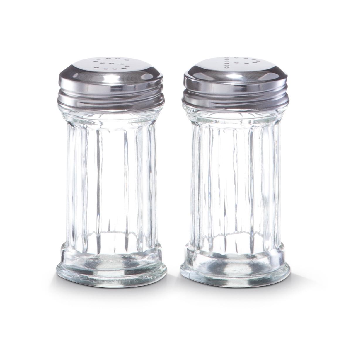 Set solnita si pipernita S&P, sticla si inox, 60 ml, Ø 5xH9,5 cm