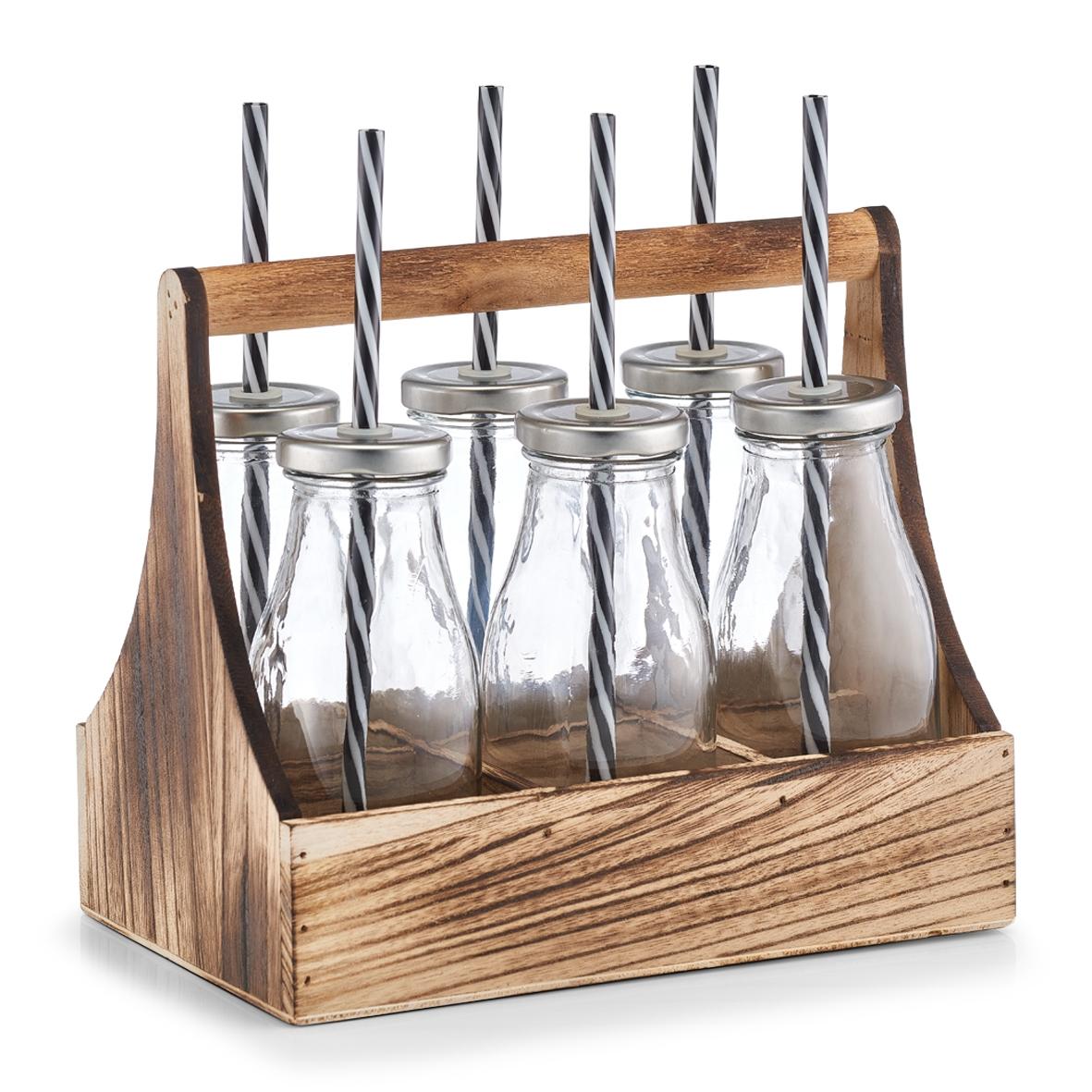 Set suport din lemn si sticle cu pai 7 piese