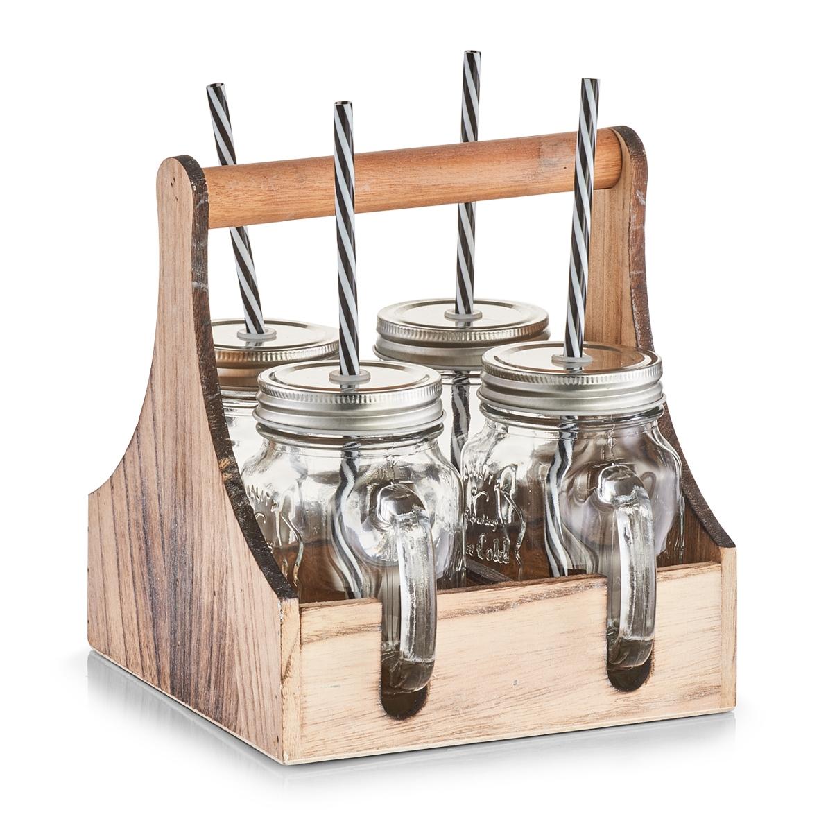 Set suport din lemn si borcane cu pai, 5 piese