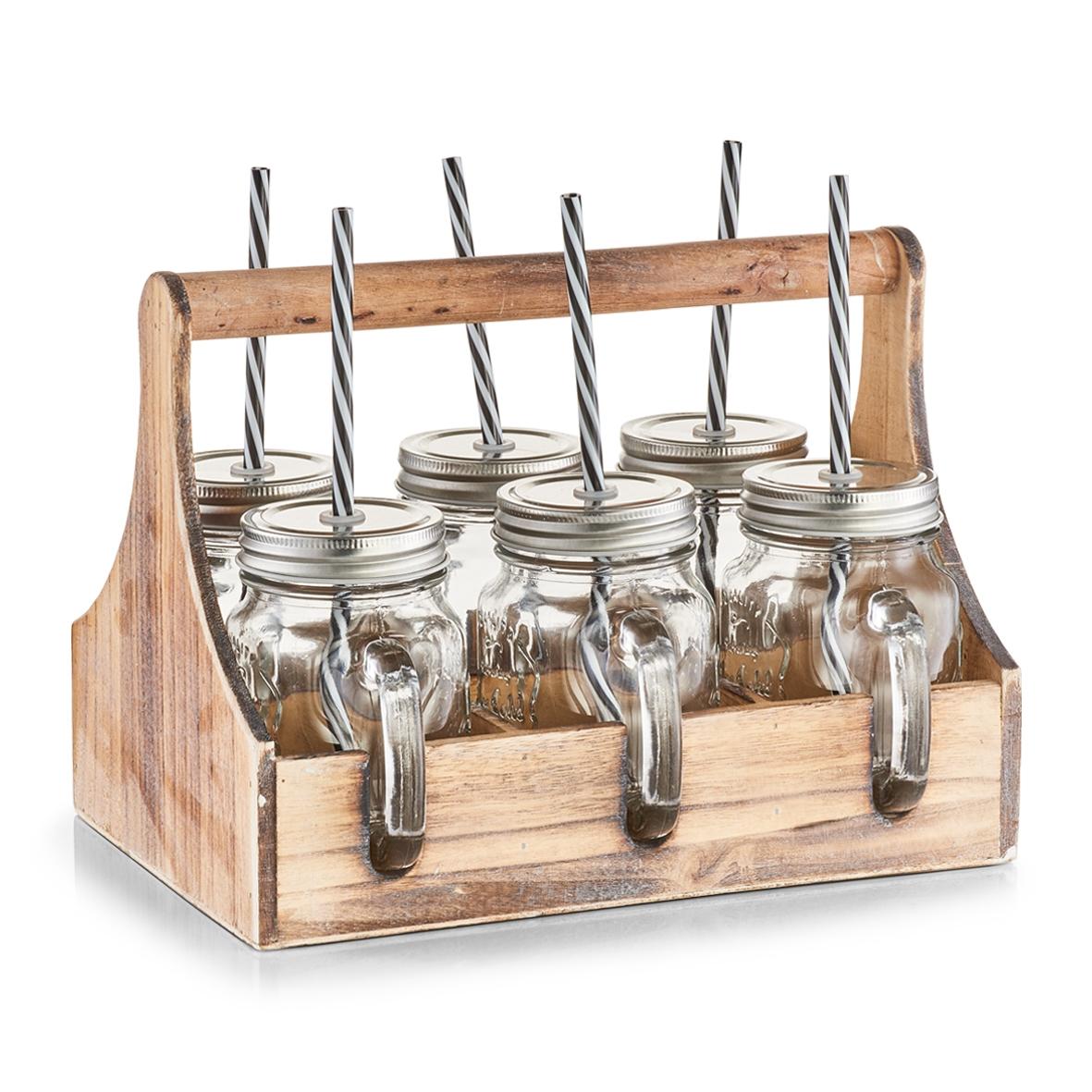 Set suport din lemn si borcane cu pai 7 piese