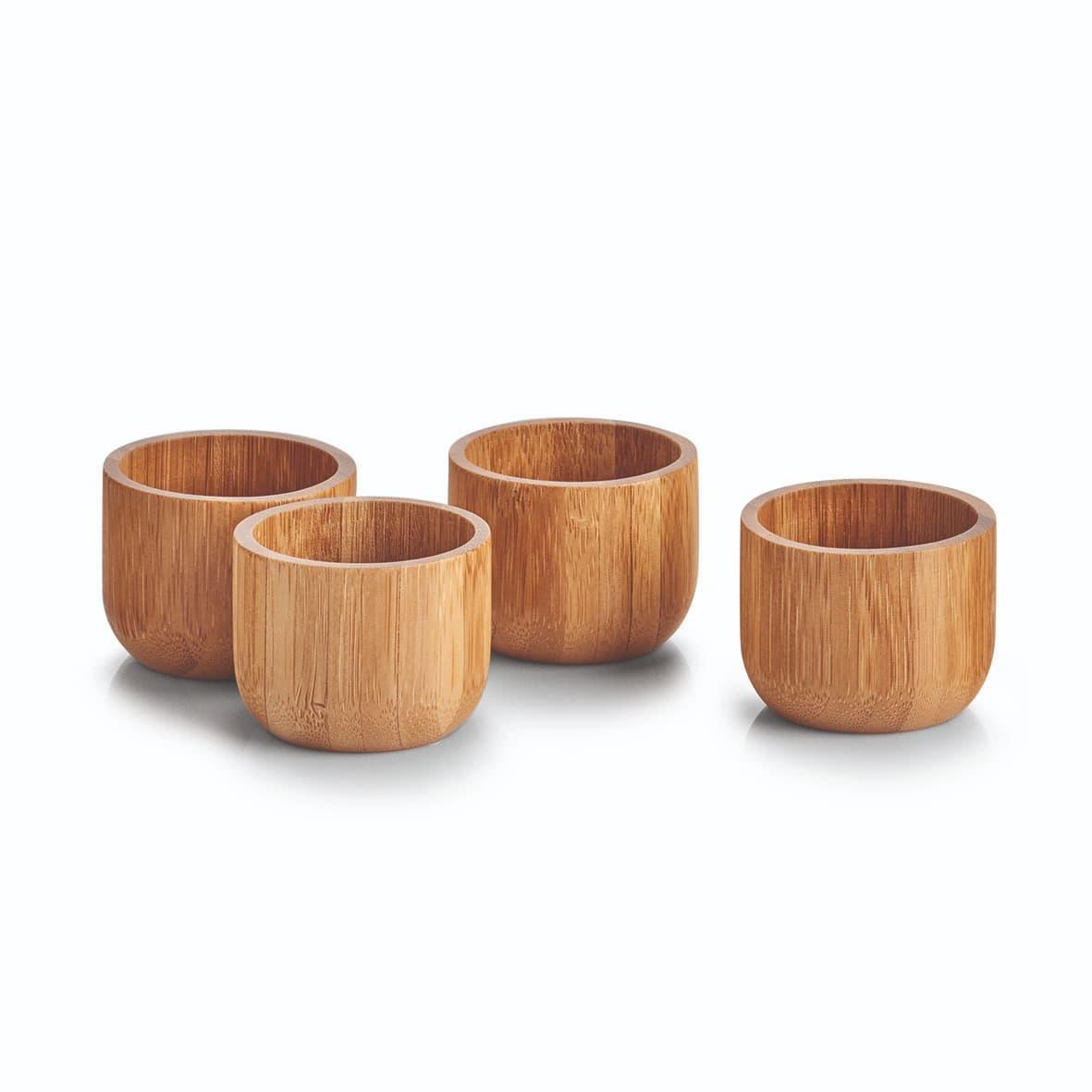 Set suport pentru oua din bambus, Bamboo Natural, 4 bucati, Ø5xH4 cm poza